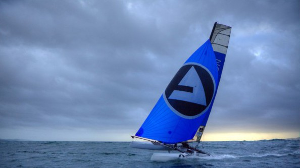Yvan Bourgnon and Joris Cocaud training before the attempt of the around Corsica Island record on the Nacra F20 Carbon « Atlantis Television », Porticcio, Corsica, France.