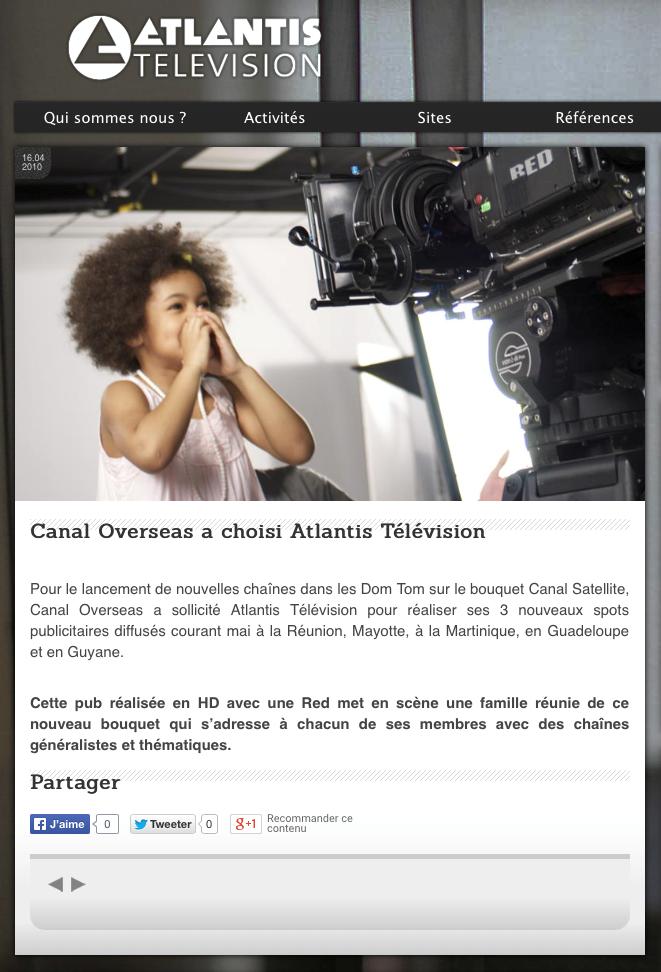Atlantis Television - Canal Overseas a choisi Atlantis Télévision