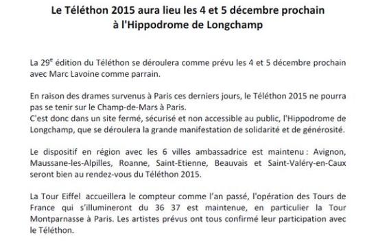 Atlantis Television - Le Téléthon délocalisé à l'Hippodrome de Longchamp après les attentats du 13 novembre